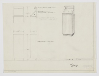 Design for lectern-bookstand with light. At upper right, object shown in perspective. Tall rectangular volume in oriental walnut stands on a recessed black lacquer base. On its surface rests a right-angled aluminum book stand whose rear plane extends upward before curling forward to house a concealed light. Object also shown in front and side elevations below at left with details above. Inscribed with Deskey no. 8410.