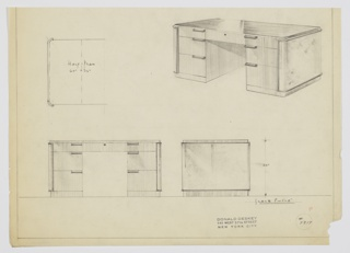 Design for pedestal desk. At upper right, perspective shows rectilinear object with curved edges and sides wrapped in separate material with trim. On either side, three-stack of drawers with top drawers shallower and in plane with central drawer, which is accessible by key; others accessed by downward curving rectangular pulls. Also shown in half-plan and front and side elevations. Inscribed with Deskey No. 7817.