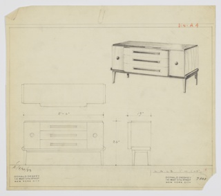 "Design for sideboard. At upper right, perspectival view of rectangular object with dark top that matches tray-like base supported by four, square-plan tapered legs. At center, stack of three horizontal drawers scallops out from main volume; these are accessed by dark, horizontal pulls. On either side drawers flanked by cabinets or deep drawers with spherical knob at center. Also shown: plan, front and side elevations. Inscribed with Deskey No. 7508 and ""K. 9/30/33""."