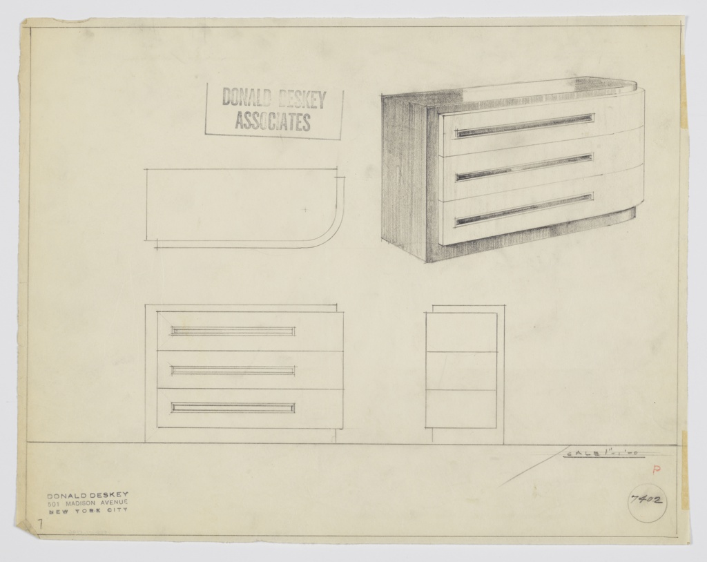 Design for chest of drawers. At upper right, object shown in perspective: rectangular volume with curved front-right corner. Base, left side and top in dark material and slightly recessed from drawers; these are in lighter material, set off slightly from base, and feature rectangular, horizontal pulls at left. Also shown in plan and front and side elevations. Inscribed with Deskey No. 7402.
