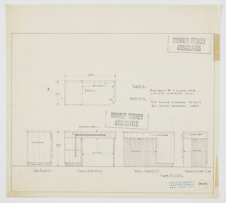 Design for desk for the Brown Palace Hotel in Denver, Colorado shown in plan, front, rear and two side elevations. Rectilinear desk features double stack of drawers at left accessed by vertical pull that runs from lower drawer upward and angles rightward to provide access to shallower drawer just below desktop, as well. Drawer fronts and sides in sycamore with recessed base, inside leg space, and right planar support in Paldao, as well as majority of back panel. Pulls in solid walnut. Inscribed with Deskey No. 8481.