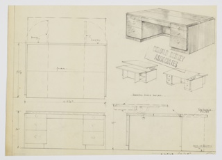 Design for a desk with adjustable drawing board and extendable writing surface. At upper right, perspective shows desk in closed position: at front, three-drawer stacks on either side, with top drawers shallower than those below; drawing indicates round pulls but these might be place-holders. Visible seam runs object width at center of surface. Just below, additional smaller front and rear elevations indicate that writing surface raises up to become angled drawing board on drawer-side; on other side, surface extends outward and is supported by cabinet doors on casters that reveal shelved storage in support piers. Also shown in plan and front and side elevations.