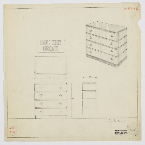 Design for chest of drawers. At upper right, perspective shows rectilinear object with curved front corners resting on slightly recessed base in solid mahogany, slightly recessed top in, likely Bombay rosewood, which also accents the front and sides between drawers (see 1988-101-1788 for material references). Four drawers in lighter material accessed by spherical pulls set into horizontal mounts on either side of each. Also shown in plan and front and side elevation. Inscribed with Deskey No. 7239.