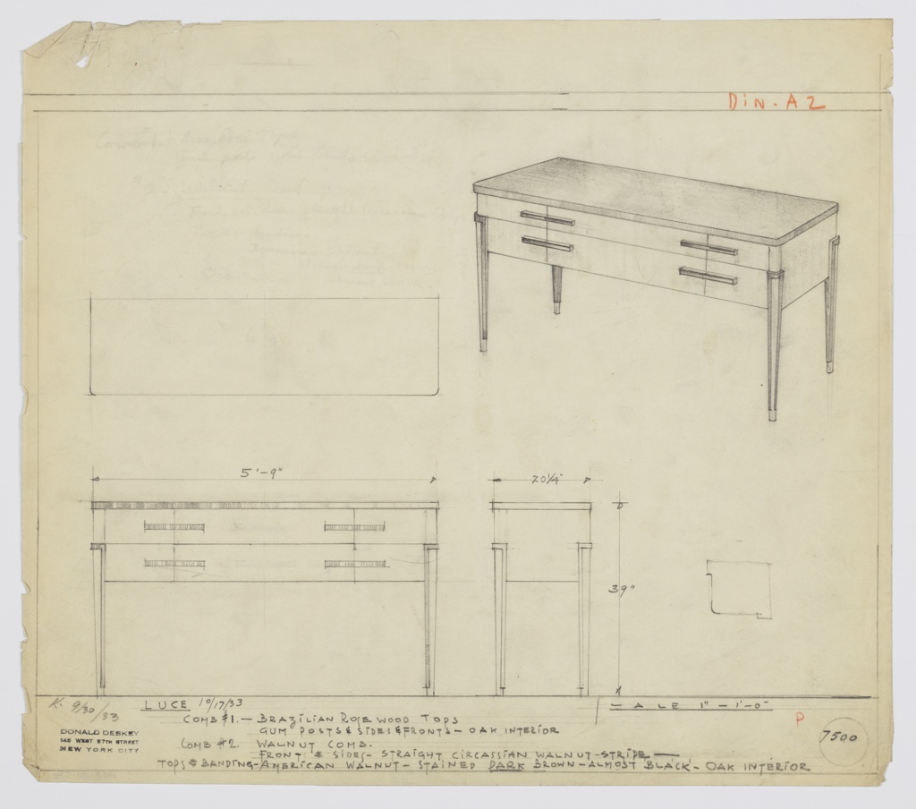 "Design for sideboard in either Brazilian rosewood with gym posts and oak interior or combination of walnuts. At upper right, perspective shows rectangular case piece with curved corners and reflective top. Three top drawers extend entire width and are accessed by horizontal pulls; below, deeper, narrower drawers accessed by same means. Piece supported by four tapering legs in same light, vertically striated wood as main volume, trimmed above and on sides by black elements. Plan and front and side elevations also shown. Inscribed with Deskey No. 7495, ""K. 9/30/33"" and ""Luce 10/17/33""."