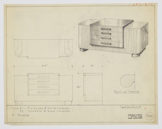 "Design for sideboard in either aspen and white lacquer or cocobolo (inscribed incorrectly as cocobola on drawing) and black lacquer. At upper right, perspective shows rectilinear cabinet with curved front corners. Object rests on parallel, rectilinear feet that curl forward in circular plan at front. Four drawers accessed by downward-curving pulls set into center of cabinet; this box extends slightly above and out from main body. At upper left, a plan; at lower left, front elevation; at lower right, side elevation. Also at lower right is a detail of drawer handle in elevation. Inscribed ""K. 9/30/33"" and with Deskey No. 7266."