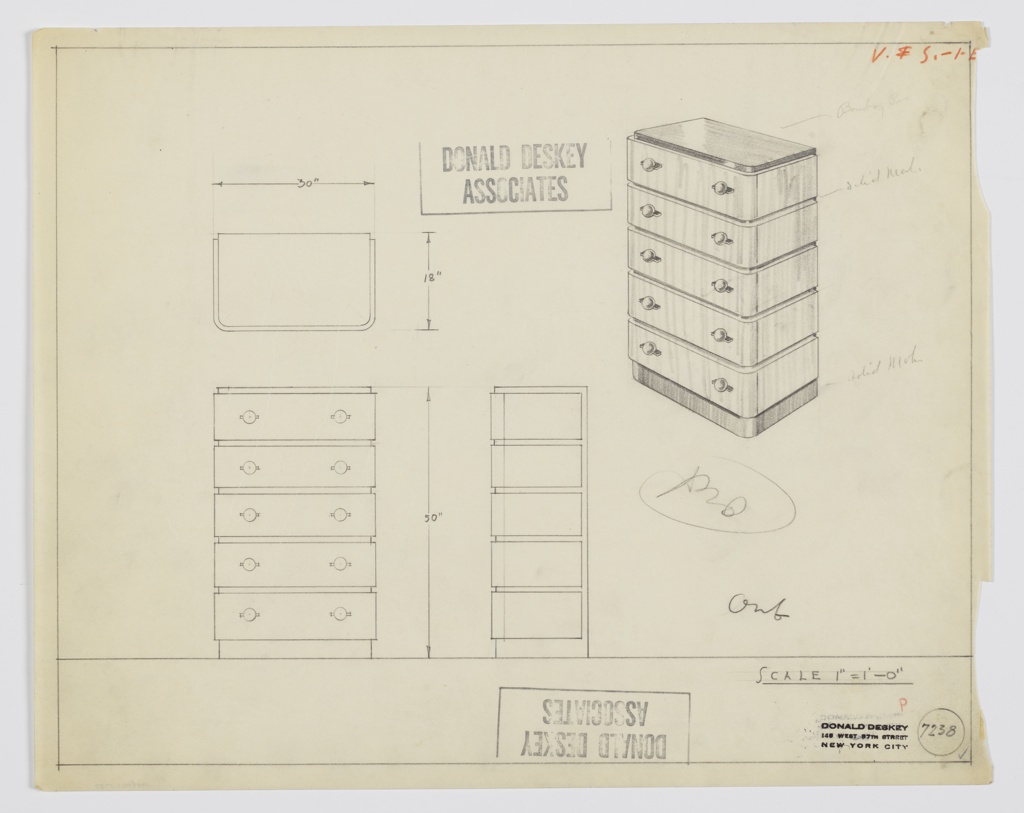 Design for chest of drawers. At upper right, perspective shows rectilinear object with curved front corners resting on slightly recessed base in solid mahogany, slightly recessed top in, likely Bombay rosewood, which also accents the front and sides between drawers. Five drawers in lighter material accessed by spherical pulls set into horizontal mounts on either side of each. Also shown in plan and front and side elevation. Inscribed with Deskey No. 7238.
