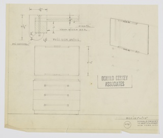 Design for chest of drawers and mirror. At lower left, both shown in front elevation: three drawers with horizontal pulls mounted on squares rest on recessed base and below slightly recessed top. Mirror is rectangular with horizontal glass bars above and below, accented by three arching volumes at center that serve as mounts. Drawing includes full-size detail of mirror mounts (upper left) and perspective of mirror (upper right). Inscribed with Deskey No. 6134.