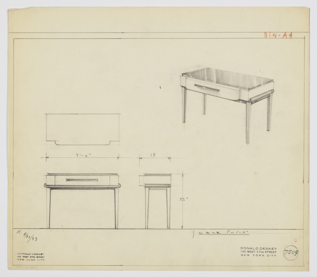 Drawing, Design for Side Table