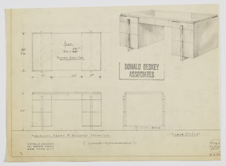 Design for desk for the George C. and Eleanor Hutton Rand Apartment. At upper right, perspective shows pedestal desk in Macassar ebony with pulls and perpendicular feet in brushed chromium. On either side is a stack of three drawers with top drawers shallower and in plane with central drawer with key access. Also shown in plan and front and side elevation. Inscribed with Deskey No. 7797.