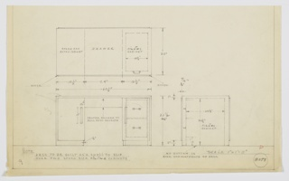 Design for pedestal desk with filing cabinet. Desk to be build as a shell to slip over two stock-size filing cabinets, per notation at lower left. Also at lower left, front elevation shows rectilinear desk with cabinet at left, center drawer accessed by key, and cabinet at right that opens to reveal two-drawer filing cabinet. Right side base solid on floor; right side consists of two parallel planes. Cabinets accessed by vertical rectangular pulls. Also shown in plan and side elevation. Inscribed with Deskey No. 8058.