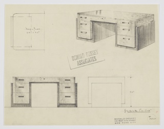 Design for pedestal desk. At upper right, perspective shows substantial desk with top, upper sides, and drawer fronts in light burled wood with sides, base, and interior wrapped in darker, striated wood. Triple stack of drawers on either side; top drawers shallower and in plane with central drawer, which is accessed by key. Also shown in half-plan and front and side elevations. Inscribed with Deskey No. 7818.