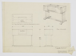Design for console with telephone book storage. At upper right, object shown in perspective: rectangular walnut volume with rectangular recess set into front for phone book storage. Supported by parallel planar legs on either side, which rest on inverted brackets with stretcher. Also shown in plan and front and side elevations. Inscribed with Deskey No. 8455.