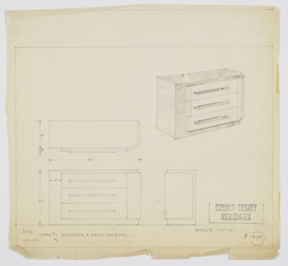 Design for chest of drawers. At upper right, perspective shows rectangular object with rounded front-right corner. Slightly recessed base, left side, and top in sycamore with three drawers and right side in white lacquer; horizontal pulls. Also shown in plan and front and side elevations. Inscribed with Deskey No. 8094.