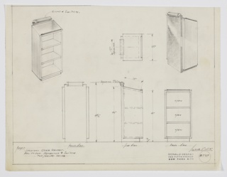 Design for lectern with open shelves and light. At upper left, object shown in perspective: rectangular volume in straight grain walnut with down-angled top surface and lip to hold book. Surface illuminated by tube light mounted at top of lectern, encased in polished chrome tube. Below, three open shelves. At upper right, rear perspective indicates back surface is wrapped in burled wood, which angles downward to serve as recessed base. Also shown in plan, front, side and rear elevations. Inscribed with Deskey No. 8737.