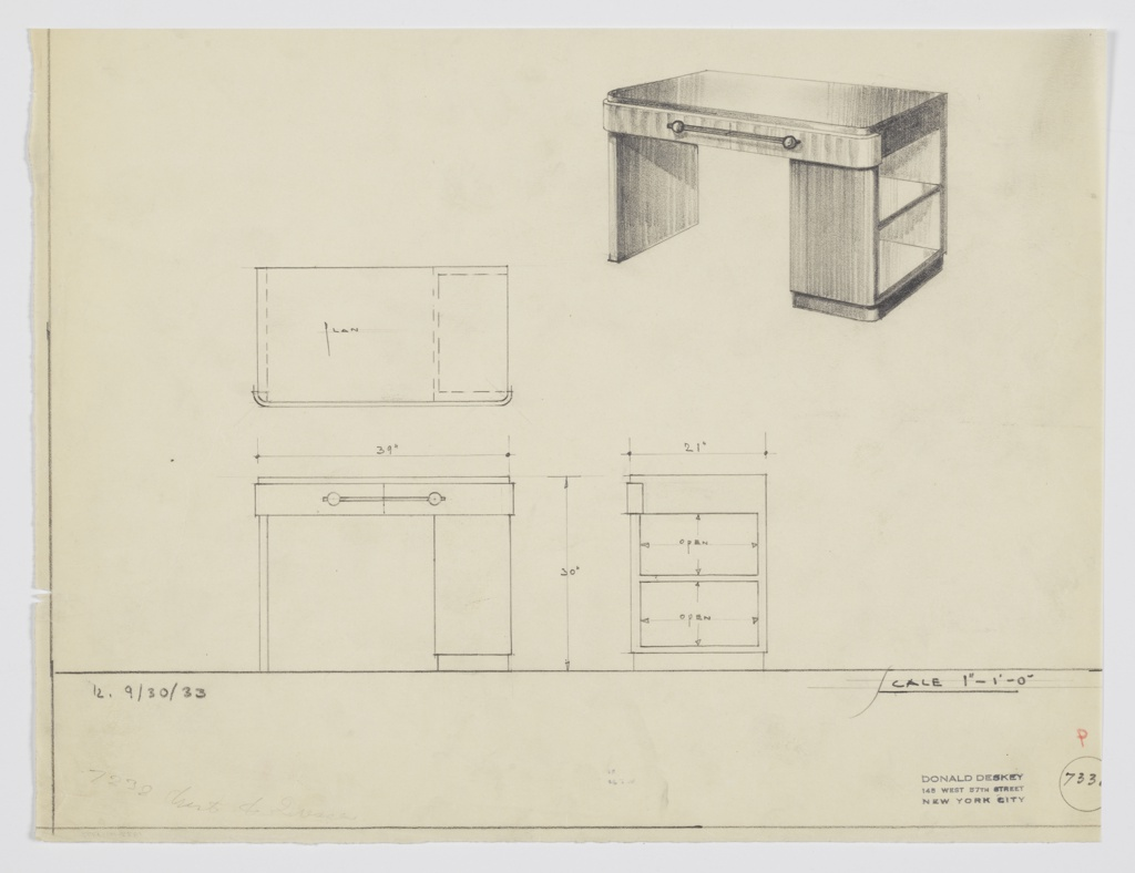 Drawing, Design for Desk with Open Shelves