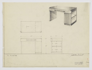 Design for desk. Overall rectilinear with rounded front corners. Top in reflective dark surface, possibly Bakelite or lacquer, and base in vertically striated wood. Left support is planar wood, while at right desktop supported by double-stack of shelves open to the right and resting on recessed base in same material as top. Two front drawers accessed by horizontal pull with spherical finials on either side. Also shown in plan and front and side elevations. Inscribed with Deskey No. 733[?] (cut-off).