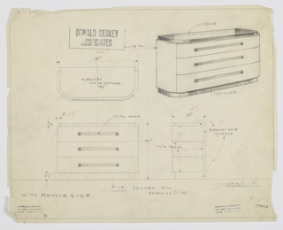 Design for chest of drawers for Abby Greene Aldrich Rockefeller's apartment in New York, NY. At upper right, object shown in perspective: rectilinear object with rounded front corners. Top and base slightly recessed bleached white sycamore. Sides and drawer fronts in white lacquer. Three drawers, each accessed by horizontal crystal pulls mounted on either side. Also shown in plan and front and side elevations. Inscribed with Deskey No. 7403.