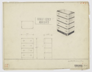 Design for chest of drawers. At upper right, perspective shows rectilinear object with curved front corners resting on slightly recessed base in solid mahogany, slightly recessed top in, likely Bombay rosewood, which also accents the front and sides between drawers (see 1988-101-1788 for material references). Four drawers in lighter material accessed by spherical pulls set into horizontal mounts on either side of each. Also shown in plan and front and side elevation. Inscribed with Deskey No. 7240.