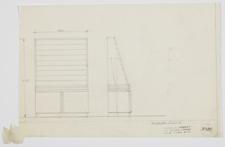 Design for stepped display rack for printed materials with cabinets below. At left, object shown in front elevation. Rows of shallow, open shelves for printed materials above horizontally streamlined section that rests atop low, two-door cabinet on base below. At center, object shown in side elevation. Inscribed with Deskey No. 8389.