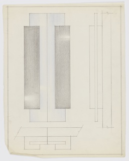 Design for pair of cabinet door pulls, vertically oriented drawing. At left, elevation shows pair of vertical rectangular pulls, each comprised of two rectangular volumes. Longer volume (in blue) situated behind shorter volume (in black). At right, side elevation describes layering of left-side pull and shows that longer segment is set into shorter one at mid-depth. Below, partial plan showing orientation of pulls to door front. Margins ruled in graphite.