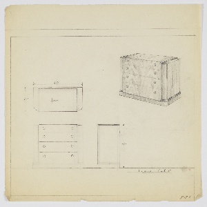 """Wide four-drawer chest with two knobs, positioned left and riight, per drawer. Scale: 1""""=1'"""