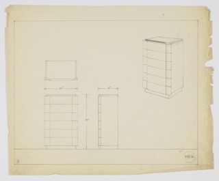 Tall six-drawer chest; no hardware. Drawers set in gently curved side pieces. Rectangular base and shallow rectangular top.