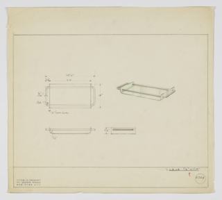 """Scale: 1 1/2""""-1'  Clear glass tray; rimmed on narrow sides. Tubular metal handle threads through rim, extends around the four sides and forms handles outside of rim ."""