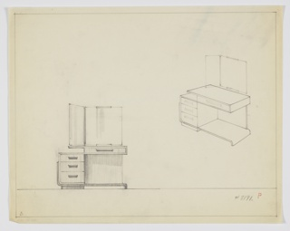 Drawing, Design for Vanity with Hinged Mirror, ca. 1934
