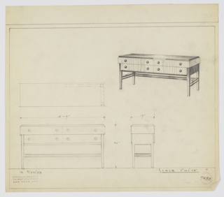 "Design for sideboard. At upper right rectilinear object seen in perspective: reflective top, likely Bakelite, sits above two wide horizontal drawers each with two spherical knobs; these in turn are atop narrower drawers with same knobs. Supported on either side by square-plan tapering legs with side and rear stretchers consisting of paired lengths of same material. Plan, front, and side elevations also shown. Inscribed with Deskey No. 7488 and ""K 9/30/33""."