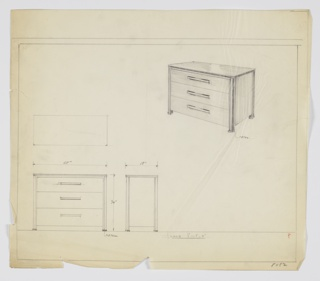 """Scale: 1""""=1' Three-drawer chest with one pull, centered, per drawer."""