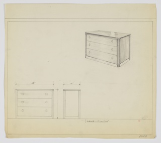 Wide three-drawer chest with two knobs, positioned left and right, per drawer.