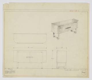 "Design for sideboard. At upper right, perspective shows oblong object with curved front corners. Overall piece in—probably—burled wood with cabinet doors at front in different wood with vertical striations. Pair of horizontal rectangular pulls in darker material. Object supported by perpendicular metal strap legs that descend from either side of cabinet doors at left and right, curling at front and rear and straightening out below to create flat stretch between anterior and posterior legs. Below, left, plan, front and side views. Inscribed with Deskey No. 7481 and ""K. 9/30/33""."