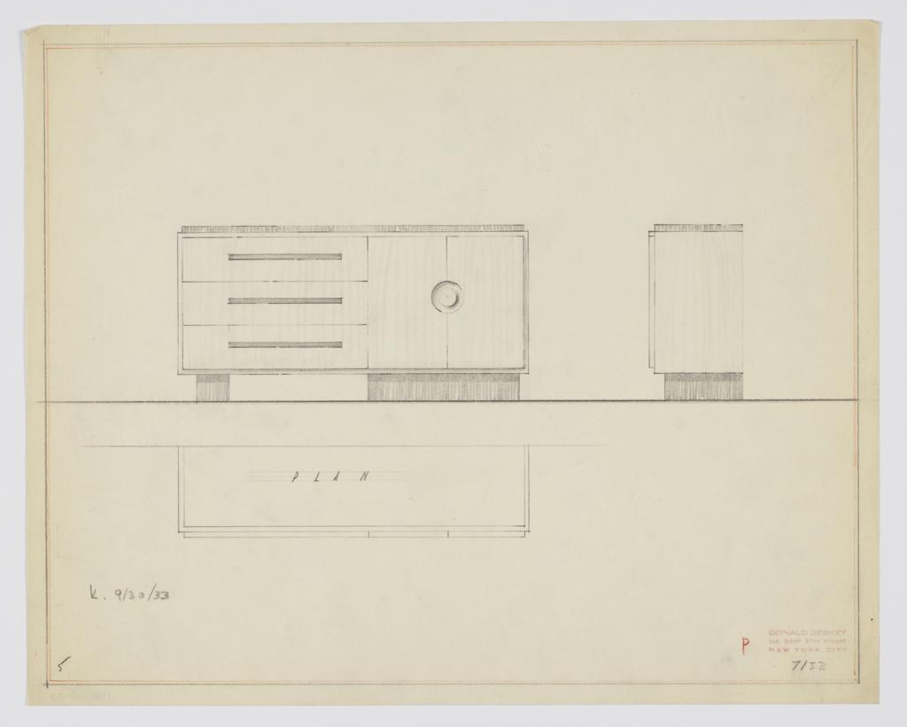 Drawing, Design for Sideboard, September 30, 1933