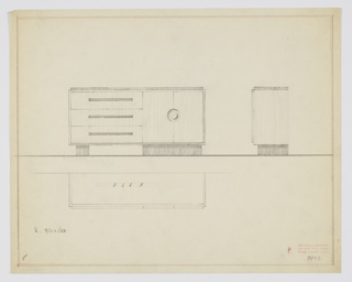 """Design for sideboard. At center left, front elevation shows rectangular cabinet with three drawers at left and two doors at right. Drawers accessed by long rectangular pulls in darker secondary material, while at right cabinets accessed by symmetrical circular pulls. Top surface slightly smaller in plan that sideboard overall. Object rests on wide block running width of cabinet doors at right and on narrower block at left, under drawers. These are positioned atop a rectangular base that runs object width. At right, side elevation; below, at left, a plan view. Inscribed with """"K. 9/30/33"""" and Deskey No. 7133. Margins ruled in graphite and in orange crayon."""