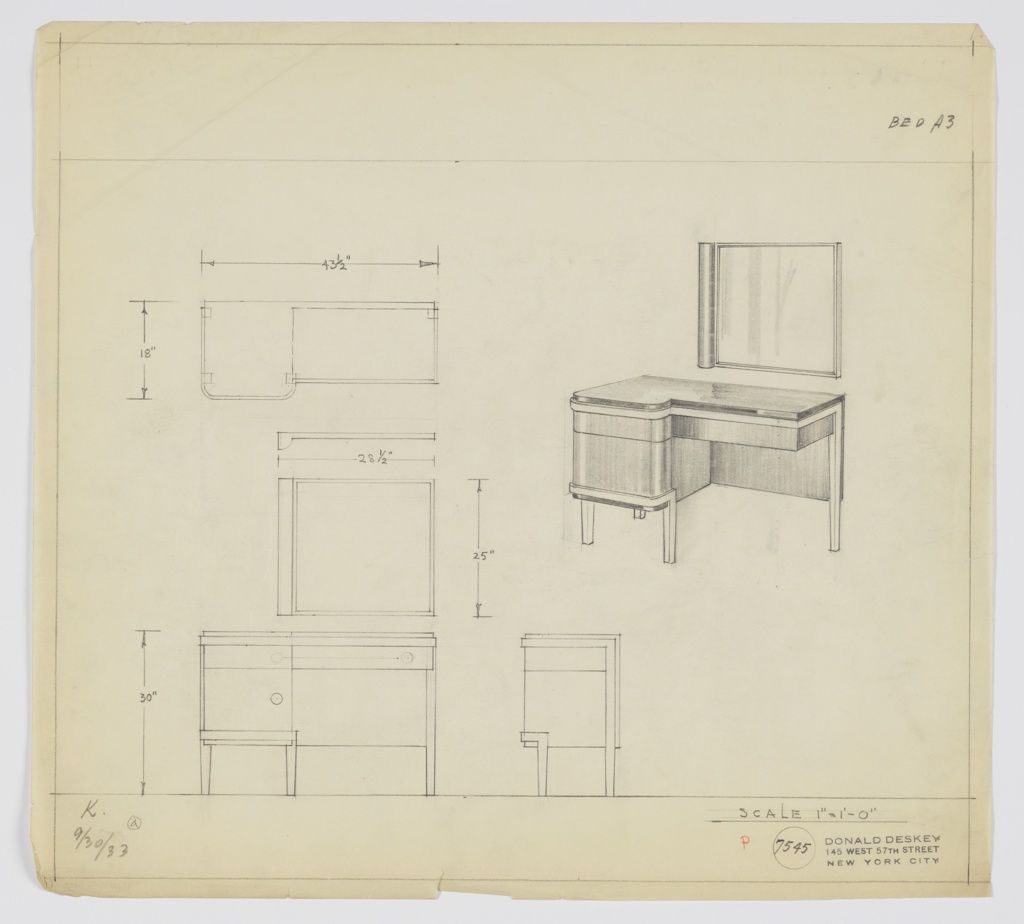 Drawing, Design for Vanity with Square Mirror