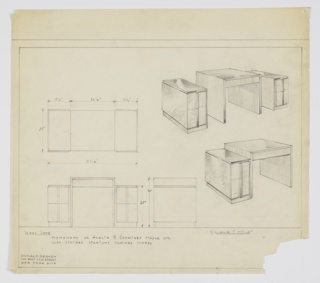 Drawing, Design for Desk with Cabinets