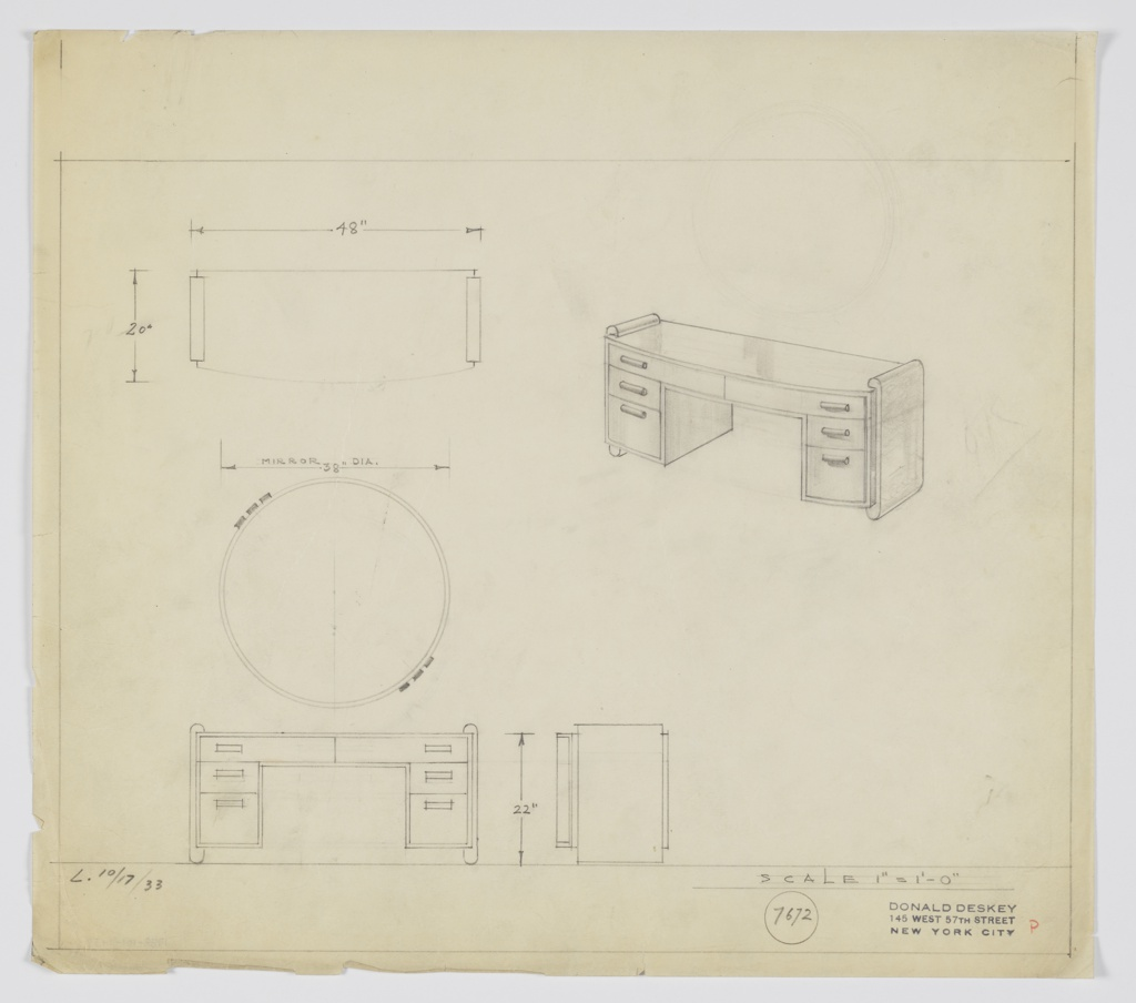 Drawing, Design for Vanity with Round Mirror