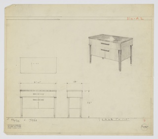 "Design for server. At upper right, perspective shows rectangular case piece with curved corners and reflective top, probably Bakelite. Above, a drawer extends entire width and is accessed by horizontal pull, probably also Bakelite; below, pair of cabinet doors accessed by same means. Piece supported by four tapering legs in same light, vertically striated wood as main volume, trimmed above and on sides by black elements. Plan and front and side elevations also shown. Inscribed with Deskey No. 7495, ""K. 9/30/33"" and L. 10/17/33""."