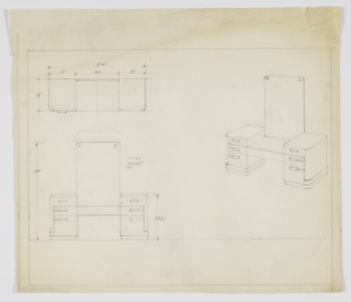 Drawing, Design for Vanity with Tall Mirror, ca. 1934