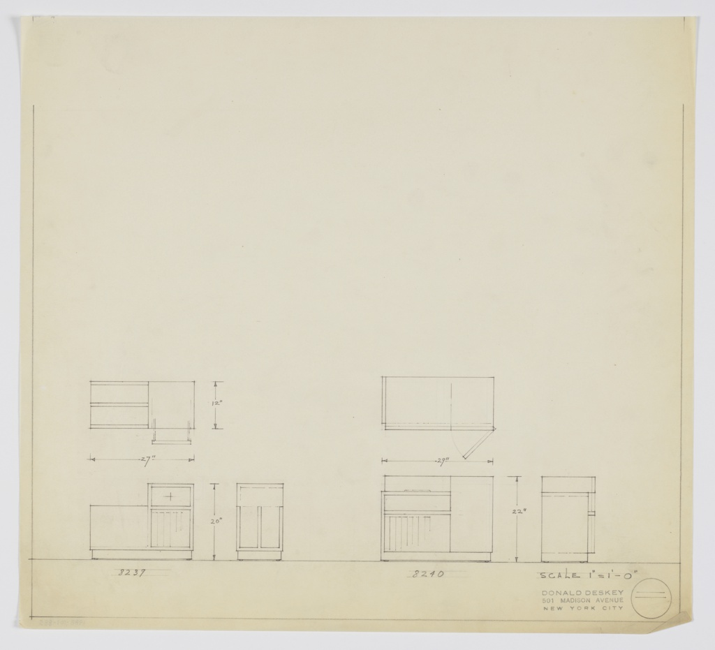 Two designs for end tables. At lower left, Deskey No. 8239 seen in plan, front, and side elevation. Rectangular piece on rectangular base; perpendicular vertical storage in open shelf at left and open book shelf below drawer at right. Drawer tower taller than left component, creating split-level surface. At lower right, three views of rectangular table Deskey No. 8240 with two open shelves at left, vertical cabinet at right. Unclear exactly whether top surface is split-level.