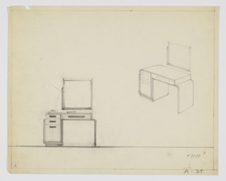 Drawing, Design for Vanity with Square Mirror, ca. 1932