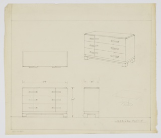 """Scale: 1""""-1'  Wide three-drawer chest on rectangular base ending in square-shaped legs; raised rectangular top. Long, narrow pulls each drawer, left and right."""