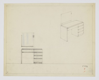 Drawing, Design for Vanity with Rectangular Mirror
