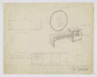 Drawing, Design for Vanity with Round Mirror, 1929–1934