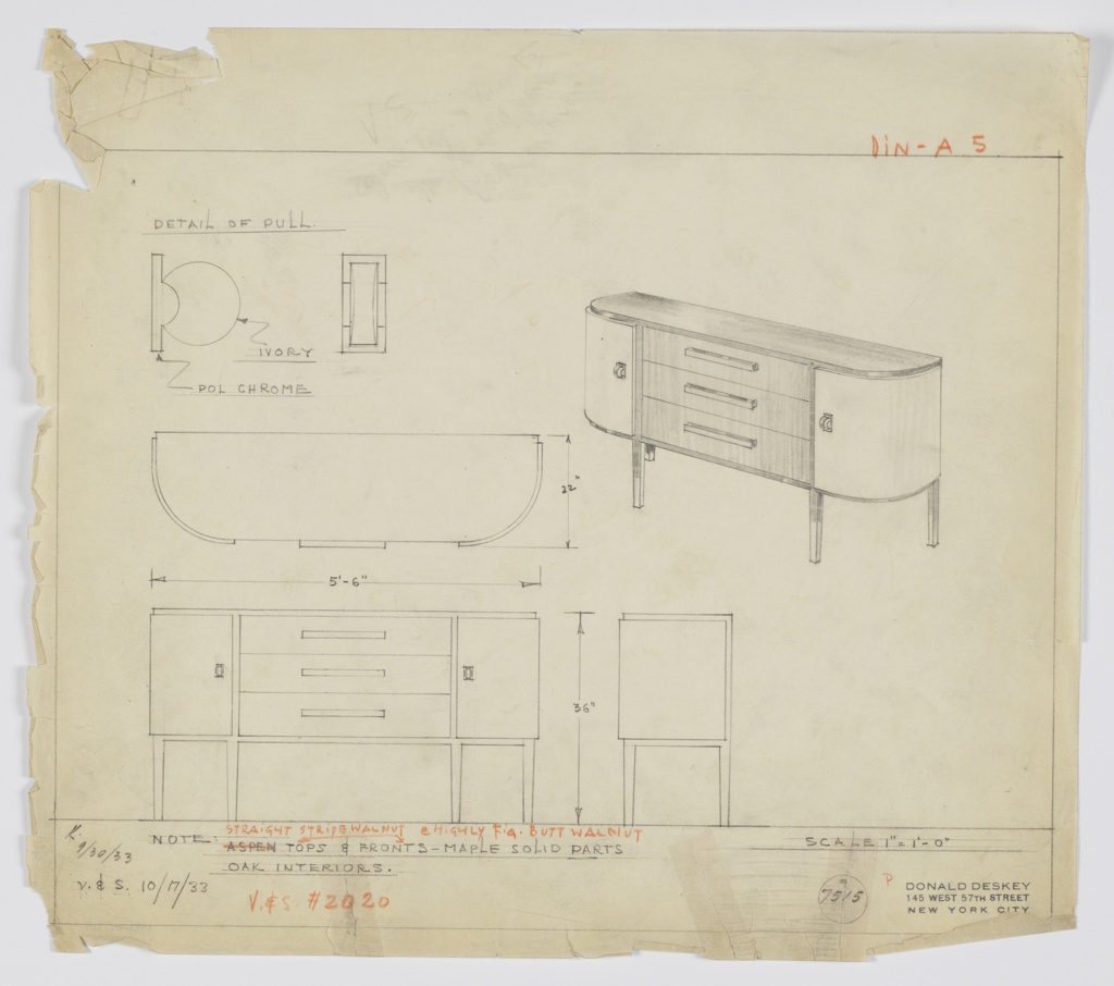 Design for sideboard in straight stripe walnut and highly figured butt walnut. At upper right, perspective shows oblong case piece with curved front corners; At center, stack of three drawers accessed by long pulls; on either side, round cabinets with disc-like pulls of ivory set vertically into polished chrome mounts. Drawers, top, and tapered square-plan legs in darker material with cabinet doors in lighter one. At upper left, detail of pull; below, plan, front elevation, and side elevation. Inscribed with Deskey No. 7515.