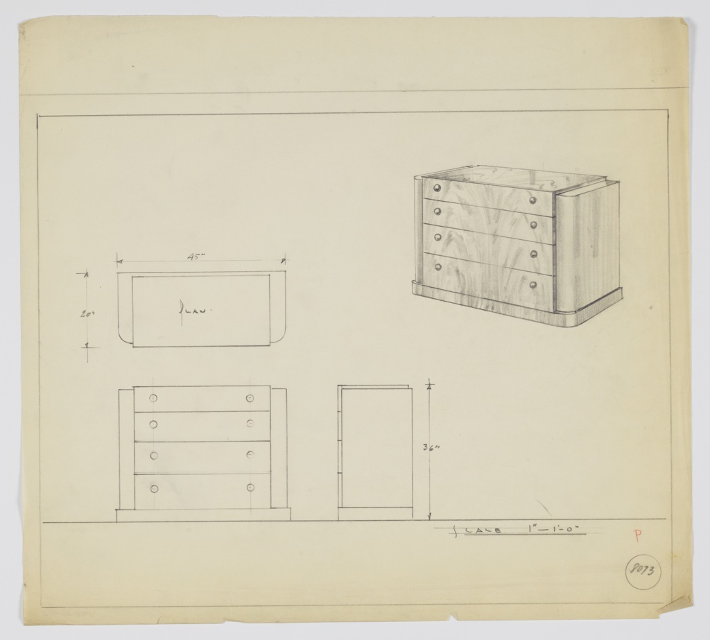 """Four-drawer chest with two knobs, positioned left and right, per drawer. Scale: 1""""-1'-0"""""""