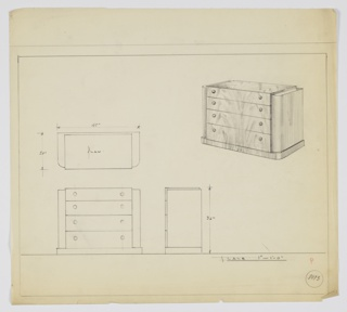 Four-drawer chest with two knobs, positioned left and right, per drawer.