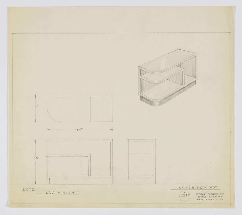 Design for end table with lacquer finish. At upper right, perspective shows rectangular cabinet with one curved front corner. Inside shelf mirrors structure of outer support and tabletop, with curved front corner and right-angled support at right. Entire object rests on shallower base in contrasting material. At lower left, plan and front and side elevations with dimensions. Inscribed with Deskey No. 7285.
