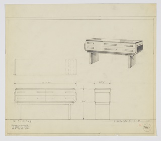 "Design for sideboard. At upper right, perspective view shows rectangular object with top in dark material (probably Bakelite) and two stacks of wide, horizontal drawers with horizontal pulls on either side, those at center touching. This volume has curved lower side corners and nestles into curved, tray-like base in dark material (again, Bakelite or perhaps black lacquer?) which in turn rests on horizontal plane supported by two perpendicular legs. At left and below, plan, side, and front views. Inscribed with Deskey No. 7487 and ""K 9/30/33""."