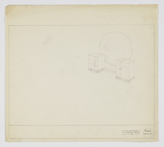 Drawing, Design for Vanity with Round Mirror, 1934–1935